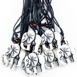 Wholesale Wood Carving China - Jewelry Wholesale 12 pcs Ethnic Amulet Yak Bone Carved Lucky Elephant Charm Pendant Wood Beads Adjustable Necklace MN230