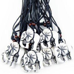 Wholesale Carved Elephant Wholesale - Jewelry Wholesale 12 pcs Ethnic Amulet Yak Bone Carved Lucky Elephant Charm Pendant Wood Beads Adjustable Necklace MN230