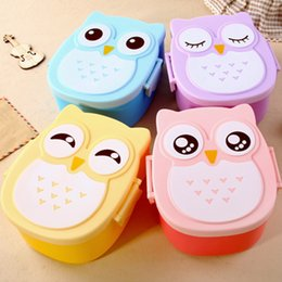 Wholesale Tableware Set Bone China - Microwave Bento Box Cartoon Cute Owl Bento Lunch Meal Box Tableware Easy-Open Microwave Oven Free Shipping Dinnerware Sets AKW675