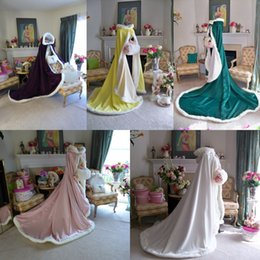 Wholesale Cheap Hooded - High Quality 2016 Cheap Wedding Cloak Cape Hooded with Fur Trim Satin Custom Winter Long White Pink Red Yellow Bridal Wrap Jackets 2015