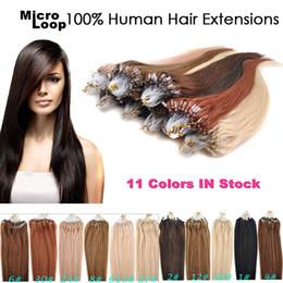 Canada 7A Micro Loop Hair 0.5g / brin 200s / lot Cheveux Raides Brésiliens Remy Cheveux Humains 16-24 pouces # 1 1B # 2 # 4 # 6 # 8 # 27 # 99J # 613 # 60 # Rose # Offre