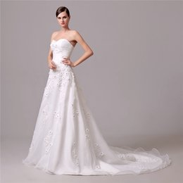 Wholesale cheap wedding dresses fast shipping - Vestidos De Novia 2016 Wedding Dresses Cheap Under 100 Sweetheart White Ivory Appliques Sweep Train Modest Bridal Dress Gowns Fast Shipping