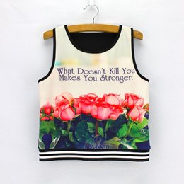 Wholesale Lowest Price Clothing - 3D rose flower print women crop tops sleeveless fashion ladies cropped t shirts vogue girls summer clothing low price mix order wholesale
