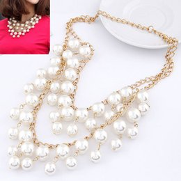 Wholesale Caroline Broke Girls - Wholesale-2 Broke Girls Caroline Gold Chains Imitated Pearl Necklace Mutilevel Bijoux Choker Statement Necklaces & Pendants Women