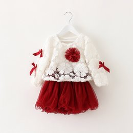 Wholesale Laced Piercing Girl - 3 Colors Baby girls 2 pcs Sets 2015 New girls fashion Lace Pierced Flowers long sleeve Top +Gauze skirt suit children clothing
