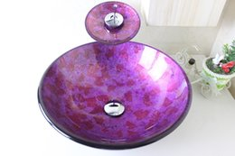 Wholesale Shampoo Sets - Purple Foil round basin Tempered Glass Vessel Sink With Chrome Waterfull Faucet Set N-667