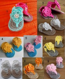 Wholesale Double Veils - PEARL CROCHET double wool flowers baby sandals.100% veil! baby girl flip-flops crochet sandals,first walker shoes,drop shipping,6pairs 12pcs