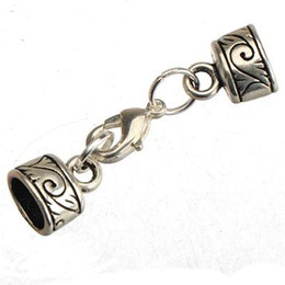 Wholesale Oval 5mm - diy clasps for leather bracelets dangles hooks toggles vintage silver metal wave design 7*5mm oval hole jewelry findings handmade new 100pcs