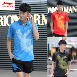 Wholesale Table Tennis Ning - Wholesale-New LI-NING Men and Women Table Tennis shirts Olympic Games Dragon Pattern Quick Dry Table Tennis POLO T-shirts Lining