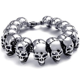 Wholesale Gothic Mens Stainless Steel Bracelets - Mens Large Heavy Stainless Steel Bracelet Link Wrist Silver Black Skull Cross Gothic