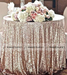 Wholesale White Table Cloth Round - Charming Sequined Table Cloth Custom Made Round Champagne Wholesale Sparkly Table Sequin Linens Cheap Wedding Accessories
