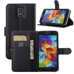 Wholesale Galaxy S4 Folding Case - High Quality Classic Luxury Stand Flip Folded Leather With Wallet Card Slots Cell Phone Cover Case For Samsung Galaxy S4 S5 S6 S6 Edge