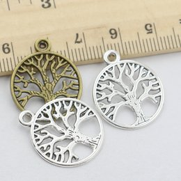 Wholesale Antique Christmas Tree - Antique Silver Bronze Plated Tree of Life Charms Pendants Jewelry Making DIY Floating Charm Handmade Wholesale 24x20mm