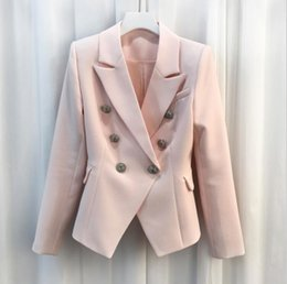Wholesale Pink Blazers - HIGH QUALITY New Fashion 2017 Baroque Designer Blazer Jacket Women's Silver Lion Buttons Double Breasted Blazer Outerwear