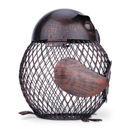 Wholesale Iron Art Car - sculpture base Tooarts Wine Rack Owl Box Mesh Wine Bottle Holder Cork Container Iron Jar Art Decoration Fantastic Sculpture For Home Office