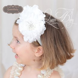 Wholesale Rolled Rosette Flowers - Double Rolled Rose Rosettes Chiffon flower With Pearls Headband, Baby Girl Headbands 4Colors,20pcs lot