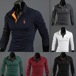 Wholesale Green Shirts For Men - 2017 Autumn New Polo Shirt For Men Fawn Embroidery Luxury Casual Slim Fit Stylish T Shirt With Long Sleeve 6 Colors 4 Size