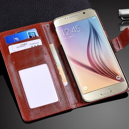 Wholesale E Packet - e-Packet Leather Case For GALAXY Note 8 S8 S6 edge S7 Plus wallet leather case with Credit ID Card Photo Frame(wrist strap)