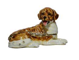 Wholesale Dog Golden - Golden Retriever dog animal jewelry box decorative trinket box pewter ornament gifts metal crafts vintage animal decoration
