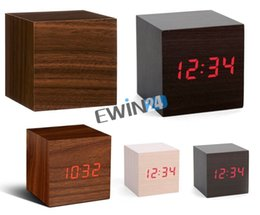 Wholesale High Temperature Alarm - New and high quality Wood Crafted Digital Led Display Time Temperature Alarm Cube Alarm Battery Clock Sound Control 60pcs