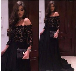 Wholesale Three Quarter Sleeve Evening Gowns - Sexy Off The Shoulder Black Lace Prom Dresses 2017 Three Quarter Sleeves Long Evening Party Dress Formal Gowns vestido de festa