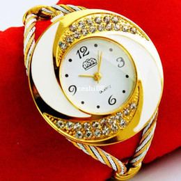Wholesale Girls Metal Bangles - Rhinestone Diamond Whirlwind Design Metal Weave Dress Wristwatches Women Girls Ladies Bracelet Bangle Watches,Muticolors