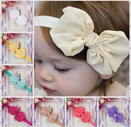 Wholesale thin baby headbands - Thin Elastic hariband stain bow headbands babies girls infants headbands toddler girls newbown bowknot headbands princess headwear