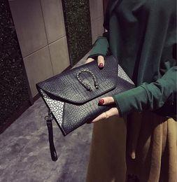 Wholesale Evening Clutch Bag Large - Crocodile Grain Women Envelope Clutch Bag Ladies Evening Party Large Clutches Handbag women envelope bag shoulder bag KKA3291