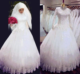 Wholesale Cheap Wedding Dresses Middle East - 2015 Custom made high neck A line wedding dresses Muslim Middle East style lace appliques long sleeves church Spring bridal gowns cheap fast