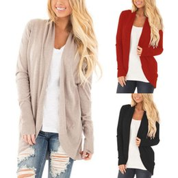 Задрапированная передняя рубашка онлайн-Женская мода осень с длинными рукавами повседневная сплошной цвет кардиган свитера шаль драпировка женская осень с открытым верхом рубашка топы пальто пиджаки