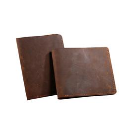 Wholesale Crazy Designer - Crazy Horse Leather Men's Wallets With Card Holder Genuine Leather Designer Black Short Vintage Man Purses For Men Carteira 2017
