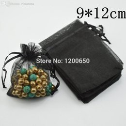 Wholesale Organza Gift Bags 9x12cm - Wholesale-100pcs black Bronzing Drawable Organza Wedding Gift Bags&Pouches 9x12cm