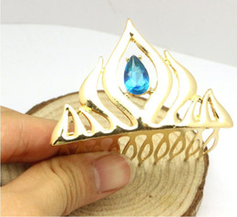 Wholesale Wholesale Crown Gifts - Crown Crystal Gold Crown Tiaras Jewelry Hairwear For Girls Christmas Gifts Girls Party Crown Accessory DHL Free Shipping