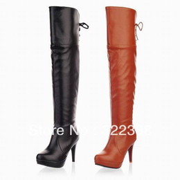Wholesale Cheap Big Boots - Free Shipping 2015 Fashion Womens Thigh Over Knee High Winter Boots Platform Big sizes 35-47 lace up Half Zipper Ladies Shoes 0813 Cheap