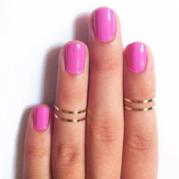 Wholesale Wholesale Midi Ring - Fashion Women Band Midi Ring Urban Gold stack Plain Cute Above Knuckle Nail Ring Christmas Gift
