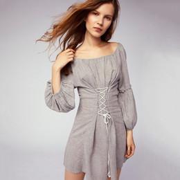 Wholesale Paisley Robe - women fashion slim tunic dress boho lantern sleeve sweet pleated mini dress A-line draped lace up short dress autumn robes 2018