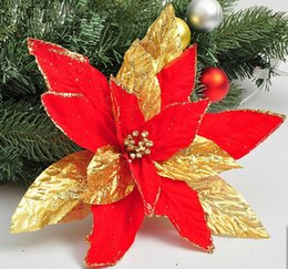 Wholesale Luxury Decorated Christmas Trees - Wholesale-Hot Sale New Arrival Red Christmas decorate products 27cm rutile flannel high-grade sticky powder luxury Christmas flowers