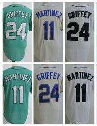 Wholesale Griffey S - 2017 2018 Mens #24 Ken Griffey Jr Jerseys 11 Edgar Martinez Baseball Jerseys Cool Base Cream Green White Size S-3XL