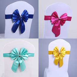 Wholesale Satin Bows For Chairs - 2018 Fashion Colorful Chair Bow for Weddings satin Bows Delicate Wedding Decorations Chair Covers Chair Sashes Wedding Accessories Custom