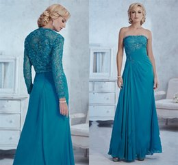 Wholesale Cheap Fancy Crystal - Fancy Strapless Neck Mother Evening Dresses Formal Wear Floor Length CHiffon Gown Cheap Dresses With Wrap Jacket Elegant Beautiful Crystals