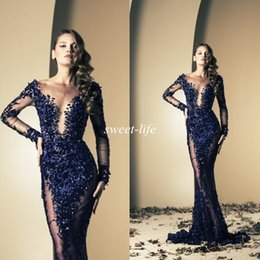 Wholesale Sequin Long Pleated Gown Champagne - Ziad Nakad 2016 Celebrity Dresses Mermaid Royal Blue Bling Sequins See Through With Long Sleeve Sweep Train Evening Gowns Long Prom Dresses
