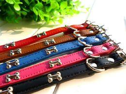 Wholesale Cheap Animal Collars - 20pcs free shipping pet collar dog collar with bone cheap collar,red&Blue 2015 S M L