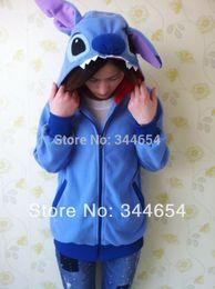 Wholesale Blue Tail Cosplay - New Blue & Pink Stitch Animal Hoodie Japan Ears Face Tail Zip Hoody Sweatshirt Costume Cosplay Lovely Hoodies