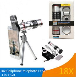 Wholesale Mobile Telephoto - 18X Zoom Phone Telescope Telephoto Camera Lens + Tripod + Aluminum Protective Shell Universal For iPhone Android Mobile Phones