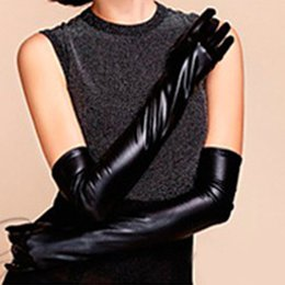 Wholesale Wholesale Long Leather Gloves - Wholesale-2015 New Faux Long Leather Gloves Women's Winter Autumn Warm Outdoors Long Design Gloves Free Shipping