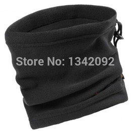 Wholesale Scarf Beanie One - Wholesale- 20pcs lot One Layer Black Winter Neck Warmer Unisex Polar Fleece Snood Scarf Beanie Hat
