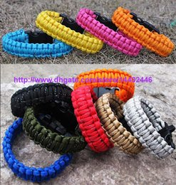 Wholesale Wholesale Custom Whistles - 100pcs New arrival survival bracelets many colors custom Bracelet paracord 550 with whistle Wristband Emergency wholesale