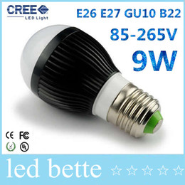 Wholesale Cree Led Types - CREE AC85-265V dimmable led globe bulbs 9w 3X3W E27 E14 B22 GU10 base type warm   cold white LED bubble ball bulb spotlight