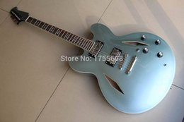 Wholesale Dave Grohl Guitars - Free shipping Semi Hollow Jazz Custom DG335 Dave Grohl signature light blue Metal Electric Guitar 120315