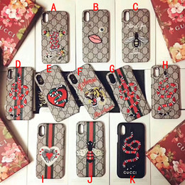 Wholesale Fit Bee - Luxury brand embroidery tiger snake Bee mobile phone shell Case for iphone X hard back cover for iphone 7 7plus 8 8plus 6 6S 6plus